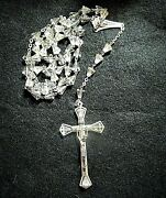 Vintage Sterling Silver And Cone Shaped Crystal Rosary Made In Italy