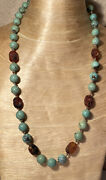 Antique Persian Turquoise Beaded Necklace Strand Genuine Natural Sterling