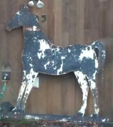 Antique Trade Sign 6.5and039andtimes6and039 Horse Shaped 1/4 Steel Horse Ranch Folk Art Stables