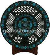 10 Black Collectible Plate Turquoise Inlay Floral Fine Art Columbus Gift Decor
