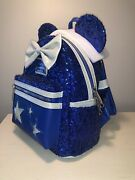 New Disney Parks Sorcerer Mickey Loungefly Backpack Blue Sequin Make A Wish
