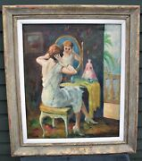 1930s Highly Listed Edward Cucuel Cali Impressionist Oil-woman At Vanity-26x30