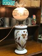 Vintage Large Porcelain Jar Table Lamp With Hurricane Etched Glass Shade [6701]