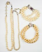 Lot Of 4 Vintage Costume Jewelry Faux Pearl And Rhinestone 2 Necklaces 2 Bracelets