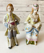 1950's Occupied Japan Red Label Victorian Lady And Man Porcelain Statues Figurines