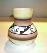 Vtg.acoma Native American Indian Pottery Vase Polychrome Geometric Motif By Wing