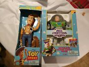 Vintage 1995 Toy Story Disney Original Pull-string Woody And Buzz Lightyear Bundle