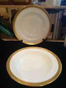 Antique Minton For Davis Collamore And Co. 2 Dinner Plates Gold Wreath Trim G6240