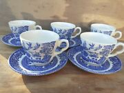 Vintage Blue And White Willow Pattern China Tea Cups And Saucers Set 5 Teatime