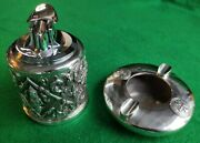 Sterling Silver Siam Smoking Set, Lighter And Ash Tray