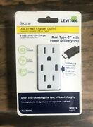 Leviton T5635-w Usb Dual Type-c With Power Delivery Pd In-wall Charger With 15