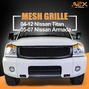Packaged Grill Front Hood Upper Replacement Grille Full Fit 04-12 Nissian Titan