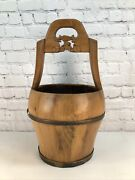 Vintage Chinese Asian Mixed Wooden Water Container / Handled Water Bucket