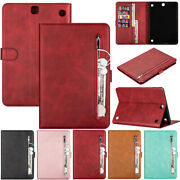 Zipper Wallet Stand Case Cover Fr Samsung Galaxy Tablet T350 T550 T580 T515 T720
