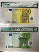 European Union Germany And Portugal 200 100 Euro,sign. Duisenberg,pmg 67epq