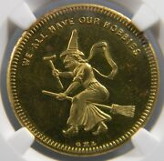 1860 We All Have Our Hobbies Brass Token G H Lovett Ngc Ms 63 Pl