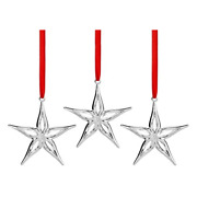 Nambe Silver Plate Mini Star Holiday Ornament Set Of 3