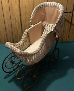 """Vintage Antique Primitive White Wicker Baby Doll Buggy Carriage Stroller 40"""" L"""