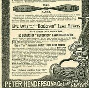 1897 Grass Seed Peter Henderson Cortland Ny Lawn Mowers Antique Paper Ad 3894