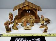 Anri Ulrich Bernardi 4 Nativity Set Italy Hand Carved And Painted 10 Pcs W Stable