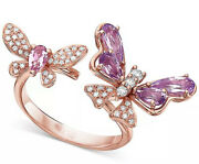 1.32ct Natural Round Diamond 14k Solid Rose Gold Amethyst Butterfly Wedding Ring