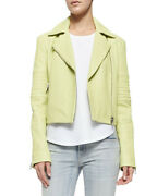 J Brand Womens Aiah Jw10le6685 Leather Jacket Relaxed Lime Sherbet Green Size M