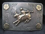 Vintage Srour Sterling 10k Bull Rider Scene Western Buckle - Unique And Rare