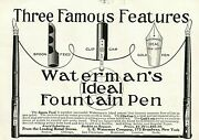 Lot Of 5 Fountain Pens Antique Waterman Dixon Swan Fount-o-ink Paper Ads 3928