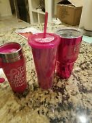 Cancer/ Breast Cancer Pink Tall Travel Coffee Mug. Lot Of 3. 16pz, 24oz, And 30oz