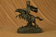 11 New Viking Warrior Rearing On Horse Statue / Sculpture Antique Real Bronze