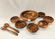 David Auld Handcrafted Haitian Haiti Wooden Wood Bowl Full Complete Set