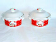 Campbells Kids Soup Bowls Set Of 2 With Lids Boy Girl Handles Covered Red White