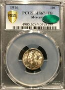 1916 Ms67+ Fb Pcgs And Cac Mercury Dime With Nice Toning