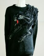 Kansai Yamamoto Iconic Black Panther Cat 3d Embroidered Wool Faux Fur Pullover M