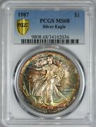 1987 American Silver Eagle Pcgs Ms68 - Toning Secure Holder