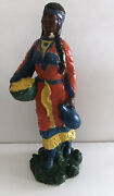 15 Vintage Gaudy Chalkware Indian Statue With Basket And Papoose Maine Estate