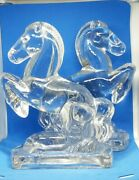 Vintage Clear Glass Trojan Horse Pony Equine Heavy Bookends