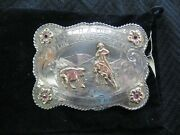 1957 Cow Palace Sterling And 10k Western Silversmiths Rodeo Buckle Rubies - Pccha
