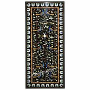30 X 72 Inch Marble Coffee Table Top Black Office Table Elegant Pietra Dura Art