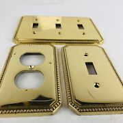Vtg Brass Single And Triple Toggle Switchplate And Outlet Cover Lot 3 Italy