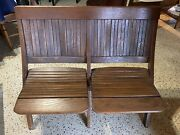 Antique Vintage Wood Double Folding Theater Seats Chairs - Local Pickup Only