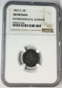 1862-s 10c Seated Liberty Dime Ngc Au Details