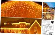Icicle Lights Outdoor Christmas Lights 400 Led String Lights Curtain Warm White