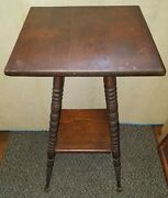 Vintage Antique Wood Side Table Plant Stand Turned Legs