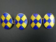 A Fine Quality Pair Of 9 Ct Gold And Enamel Tablet And Chain Cufflinks - 17 Grams