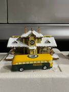 Hawthorne Village Bus Station W Bus Lights Up Christmas Green Bay Packers Rare