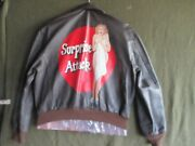 Wwii Style A-2 Painted Flight Jacket Surprise Attack Bomber Nose Art Size 46r