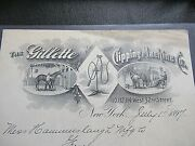 1897 Antique Signed Document, The Gillette Clipping Machine Co. Ny, George H.
