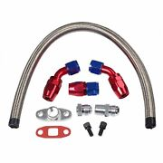 Stainless Braided Turbo Charger 17 Oil Feed Return Drain Line+10an Fitting Kit
