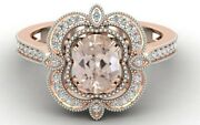 1.65 Ct Aaa Peach Morganite Solitaire Ring With Diamond Engagement Wedding Ring
